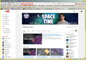 PBS Space Time channel ID in the browser's address bar.