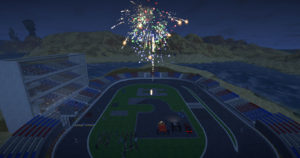 Here's my character in Landmark setting off fireworks at her race track build site!